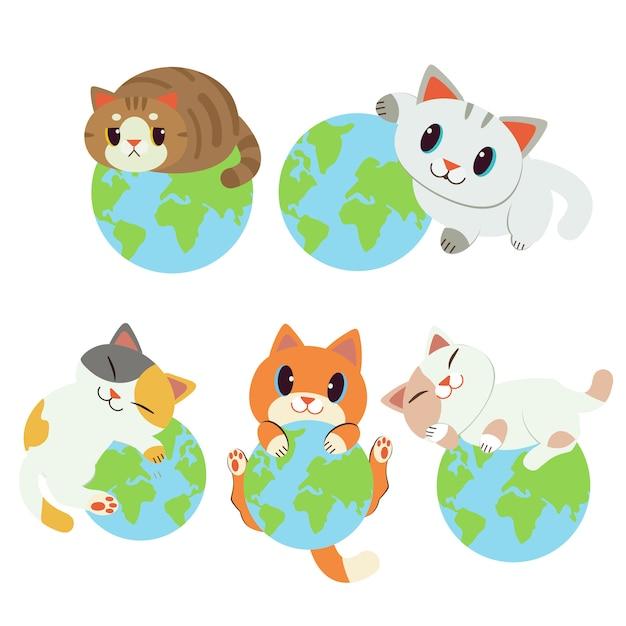 Collection of world è mia. il personaggio simpatico gatto che dorme sulla terra. salva la terra dai gatti. Vettore Premium