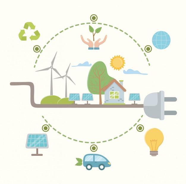 Collega e risparmia energia Vettore Premium