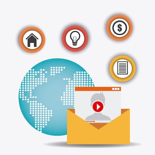 Collegamenti mondiali e affari infografica Vettore gratuito