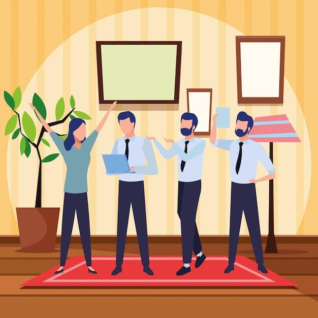 Colleghe d'affari con forniture per ufficio Vettore gratuito