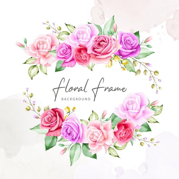 Collezione acquerello cornice bouquet di fiori Vettore Premium