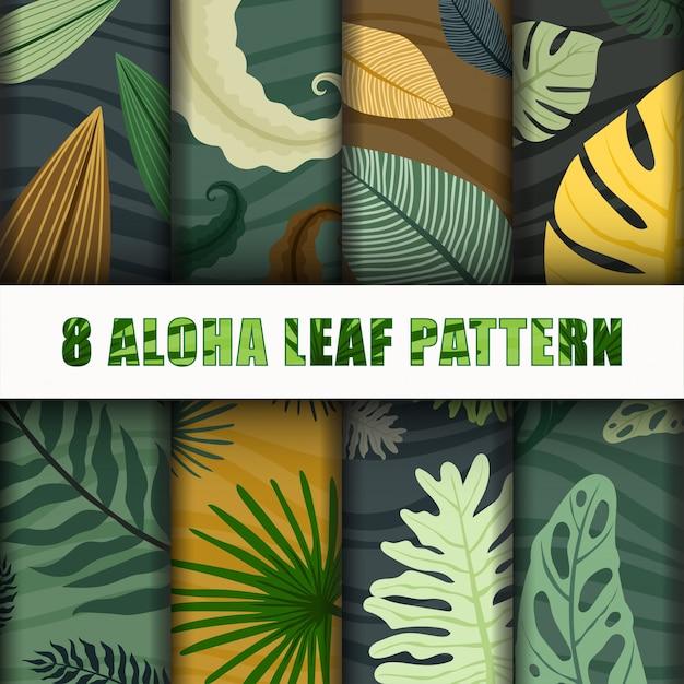 Collezione aloha leaf pattern set Vettore Premium