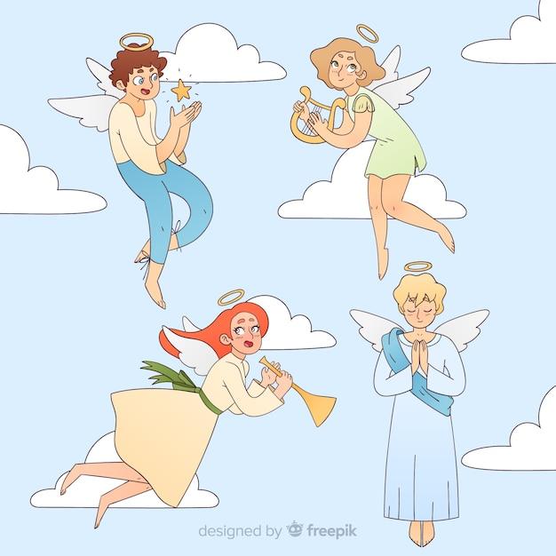 Collezione anime angeli Vettore gratuito