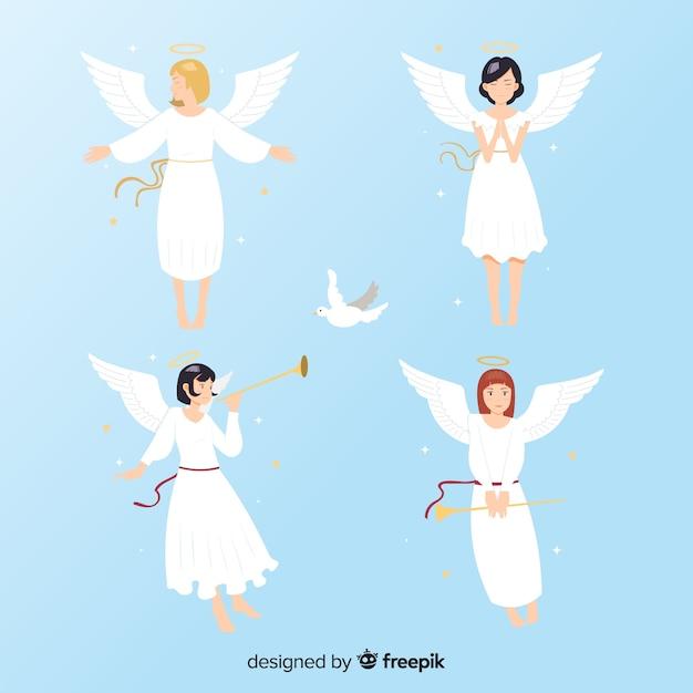 Collezione anime flat angels Vettore gratuito