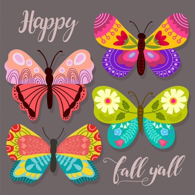 Collezione astratta con diverse farfalle Vettore Premium