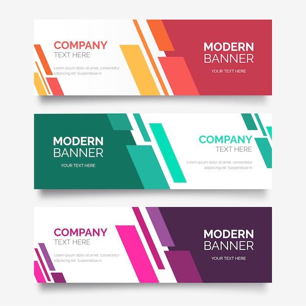 Collezione astratta di banner con forme moderne Vettore gratuito