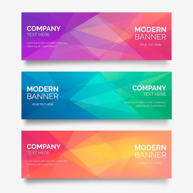 Collezione astratta di banner con forme poligonali Vettore gratuito