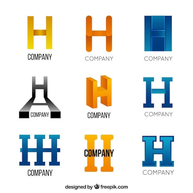 Collezione astratto lettera h logo Vettore gratuito