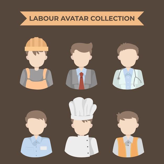 Collezione avatar laburista Vettore Premium