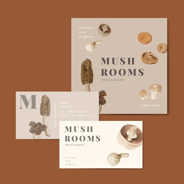 Collezione aziendale di design dei funghi Vettore gratuito