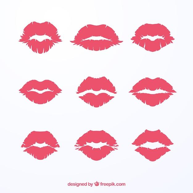 Collezione Baci Con Rossetto In Colore Rosso E Rosa Scaricare