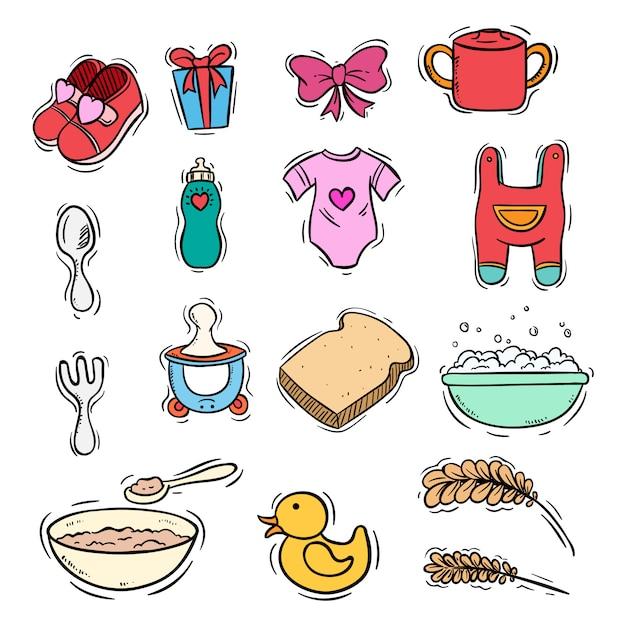 Collezione bambini colorati con stile doodle Vettore Premium