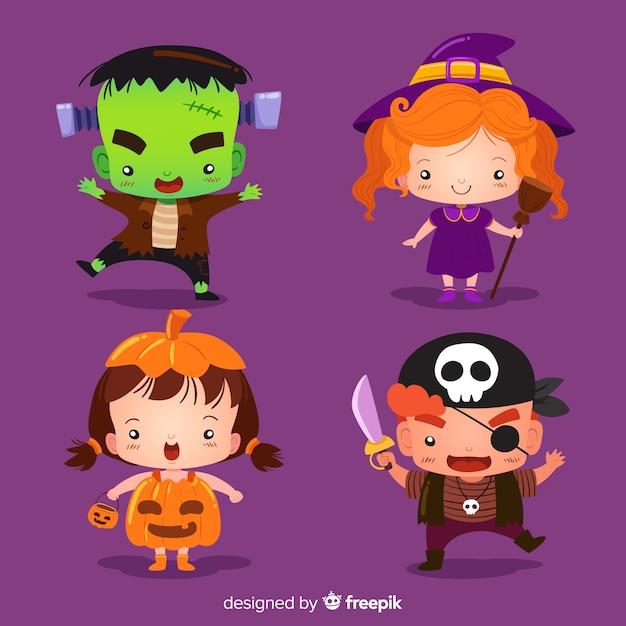 Collezione bambini halloween Vettore gratuito