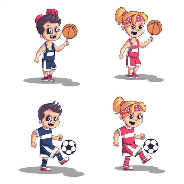 Collezione bambini sportivi Vettore Premium