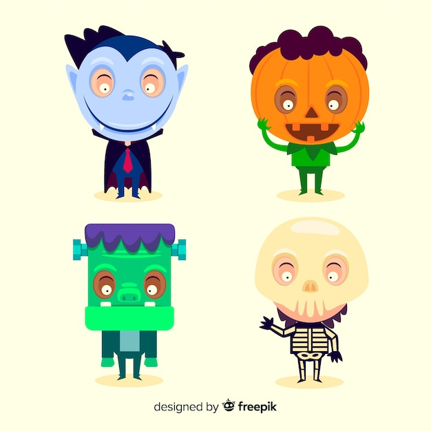 Collezione bambino halloween design piatto Vettore gratuito