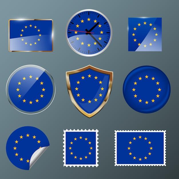 Collezione bandiera unione europea Vettore Premium
