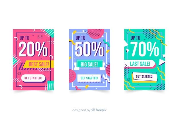 Collezione banner di vendita stile memphis Vettore gratuito