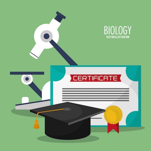 Collezione biologia scienza icone Vettore Premium
