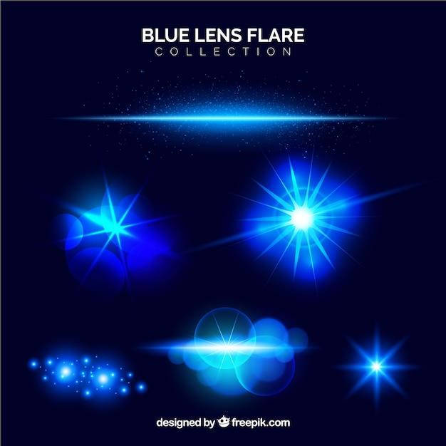 Collezione blu flare lente Vettore gratuito