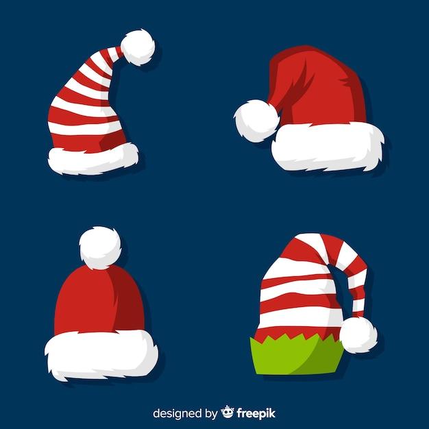 Collezione cappelli di babbo natale Vettore gratuito