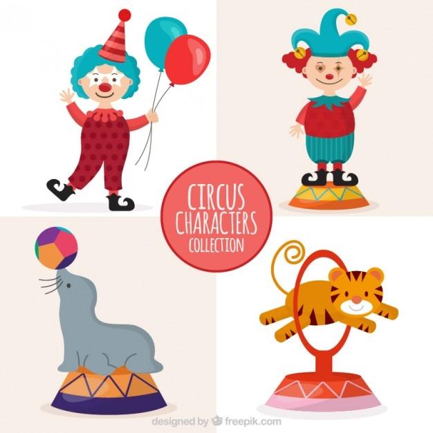 Collezione carattere cute curcus Vettore gratuito