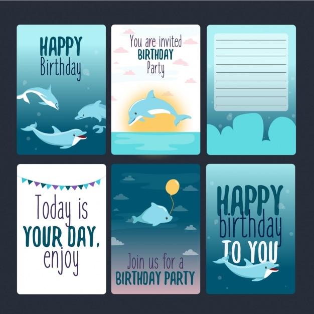 Collezione carte di compleanno Vettore gratuito