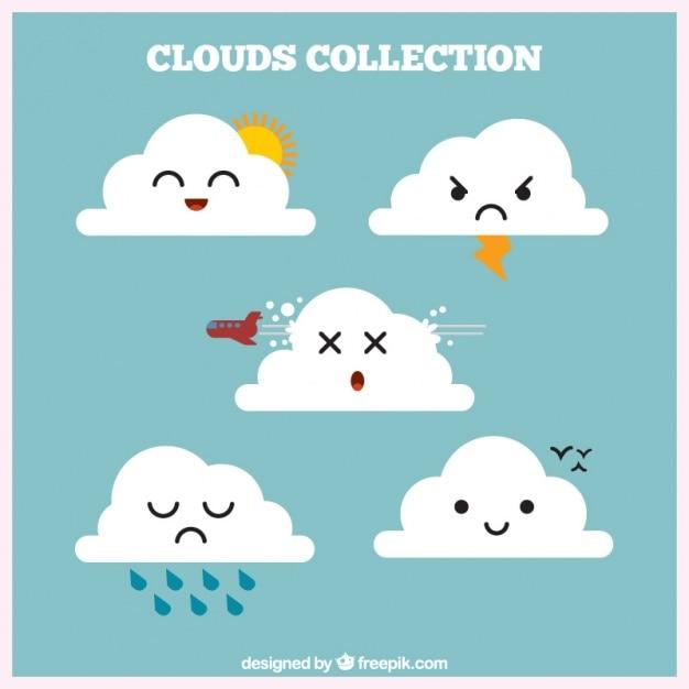 Collezione cloud con agenti atmosferici Vettore gratuito