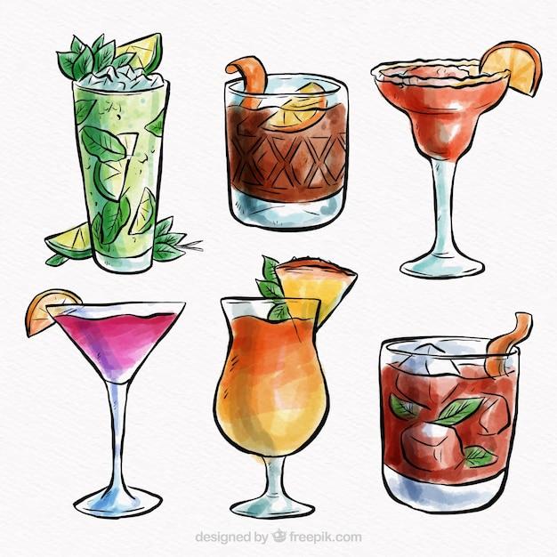 Collezione cocktail tropicale con stile acquerello Vettore gratuito