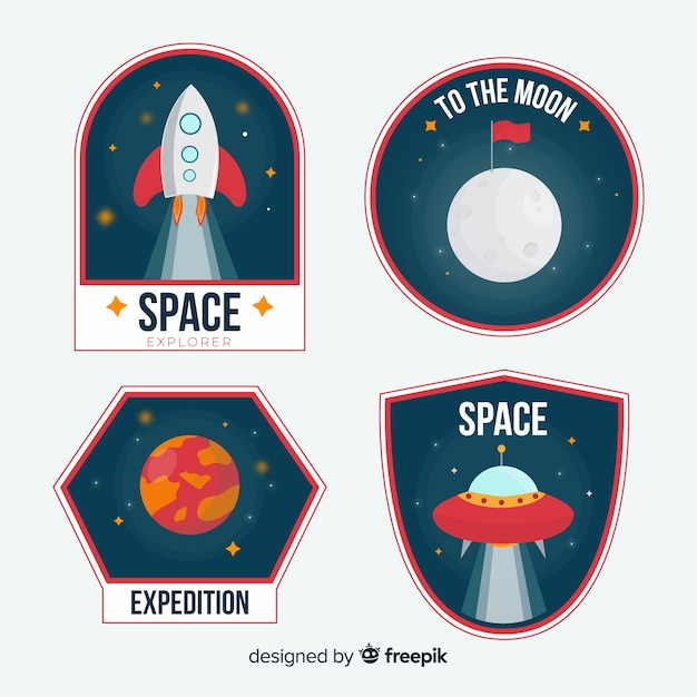 Collezione colorata di adesivi spaziali Vettore gratuito