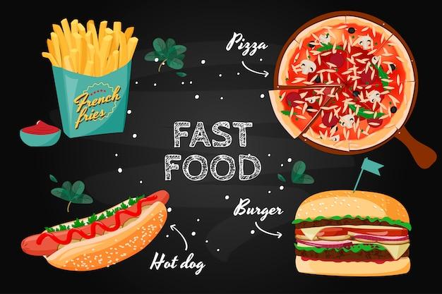 Collezione colorata di fast food. Vettore Premium
