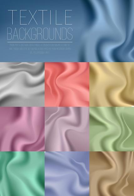 Collezione colorata di tessuti drappeggi in blu, oro, argento, verde, rosa, viola luce e colori vivaci. Vettore gratuito