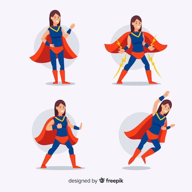 Collezione colorata femminile supereroe con design piatto Vettore gratuito