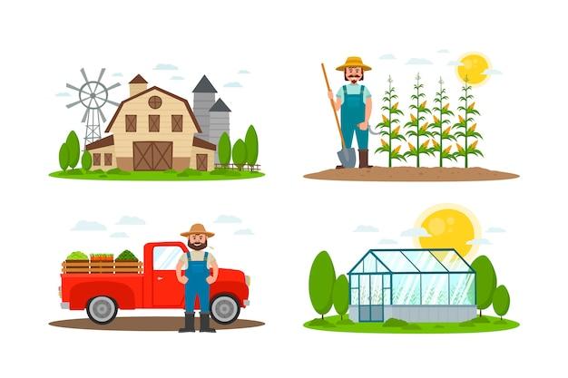 Collezione concept di agricoltura biologica Vettore gratuito