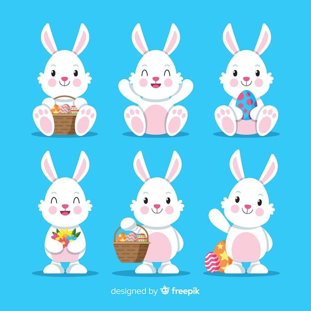 Collezione coniglietto pasquale Vettore gratuito