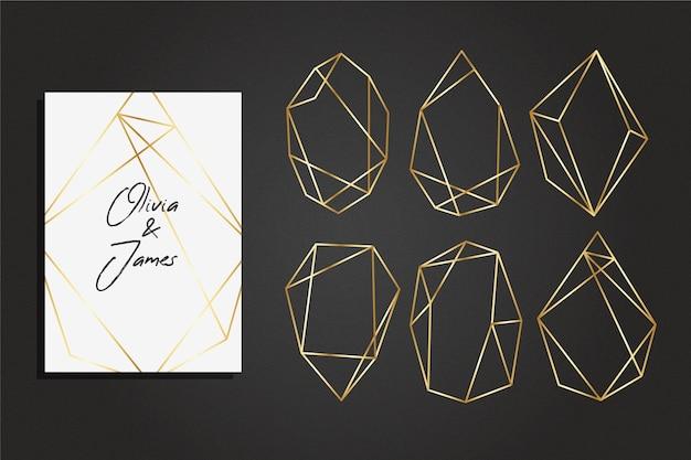 Collezione cornice poligonale dorata stile elegante Vettore gratuito