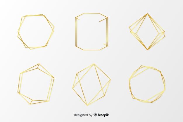 Collezione cornice poligonale dorata Vettore gratuito