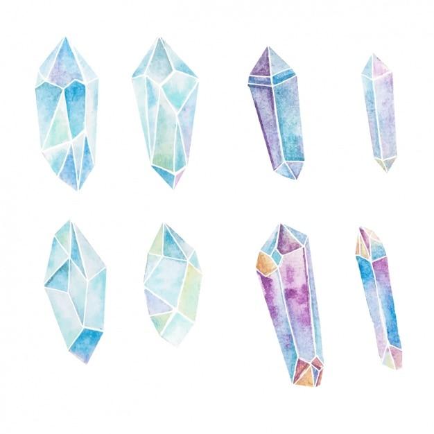 Collezione cristalli acquerello Vettore gratuito