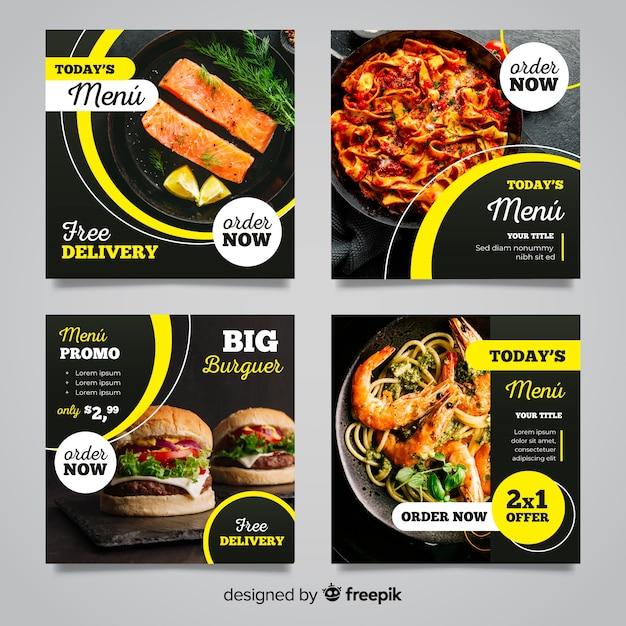 Collezione culinaria di post instagram con foto Vettore gratuito
