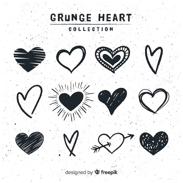 Collezione cuore disegnato a mano Vettore Premium