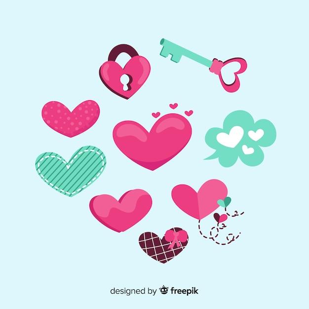 Collezione cuore disegnato a mano Vettore gratuito