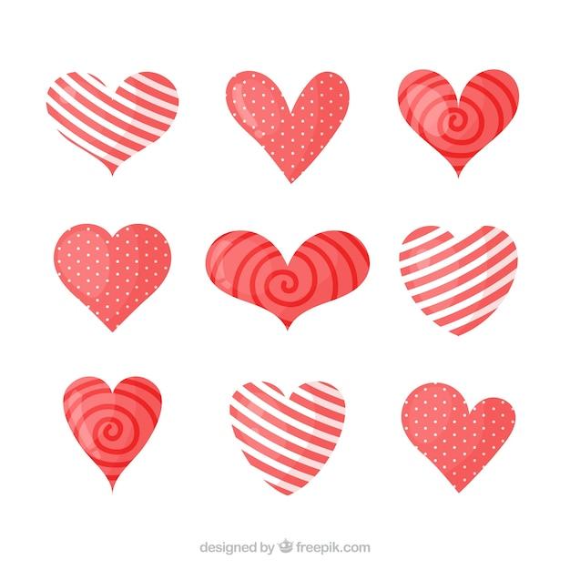 Collezione cuore piatto Vettore gratuito