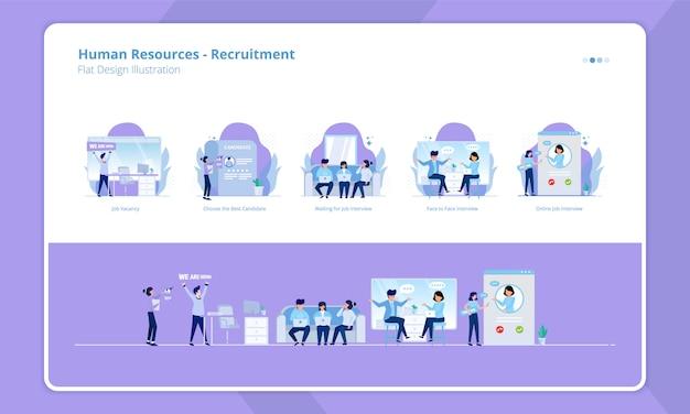 Collezione design piatto del tema delle risorse umane, stiamo assumendo o reclutamento aperto Vettore Premium