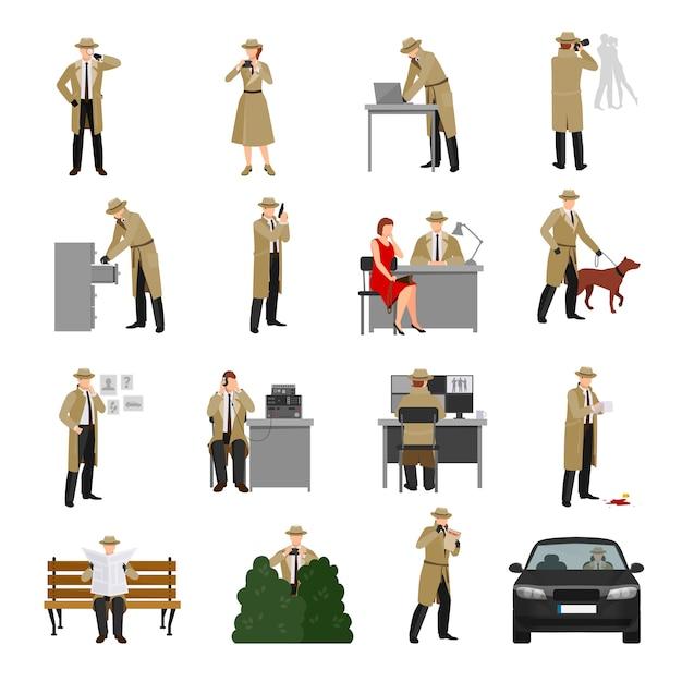 Collezione detective characters Vettore gratuito