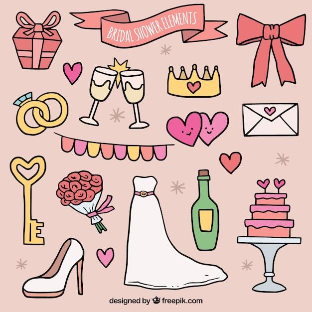 Collezione di accessori sposa doccia in stile disegnato a mano Vettore gratuito