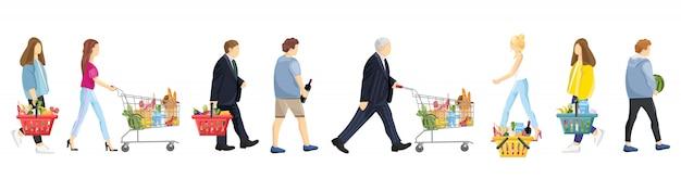 Collezione di acquisti di persone Vettore Premium