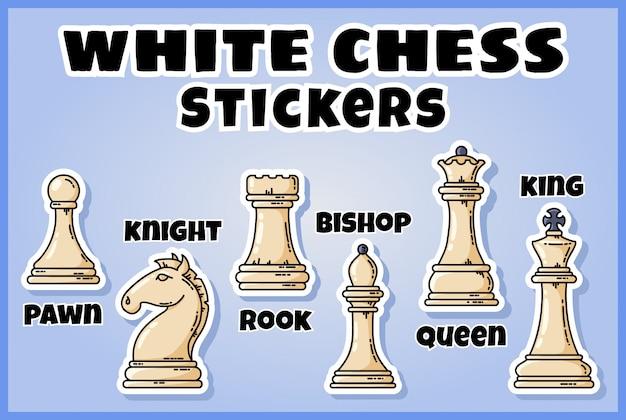 Collezione di adesivi bianchi pezzi degli scacchi. set di etichette di scacchi Vettore Premium