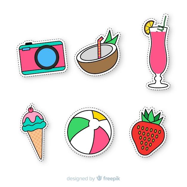 Collezione di adesivi colorati disegnati a mano estate Vettore gratuito