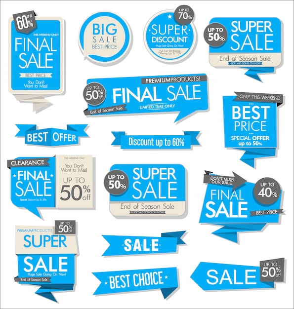 Collezione di adesivi colorati vendita moderna Vettore Premium