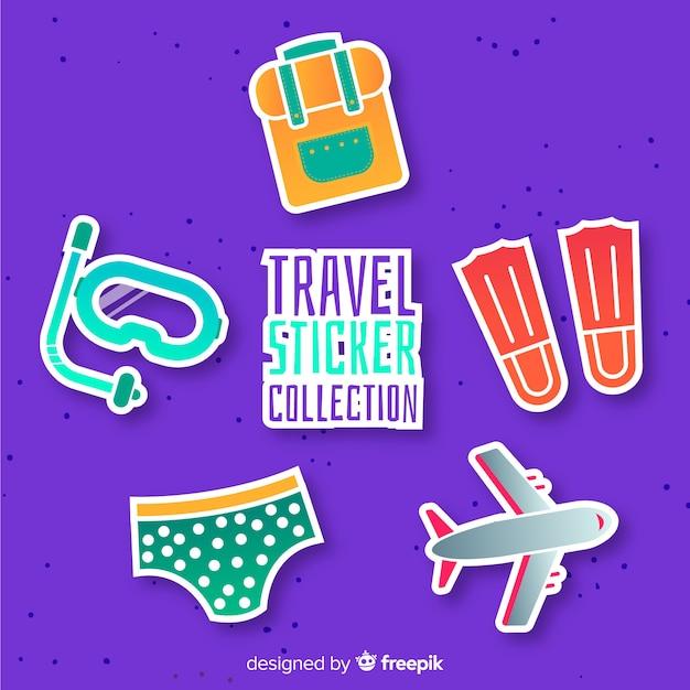 Collezione di adesivi da viaggio Vettore gratuito