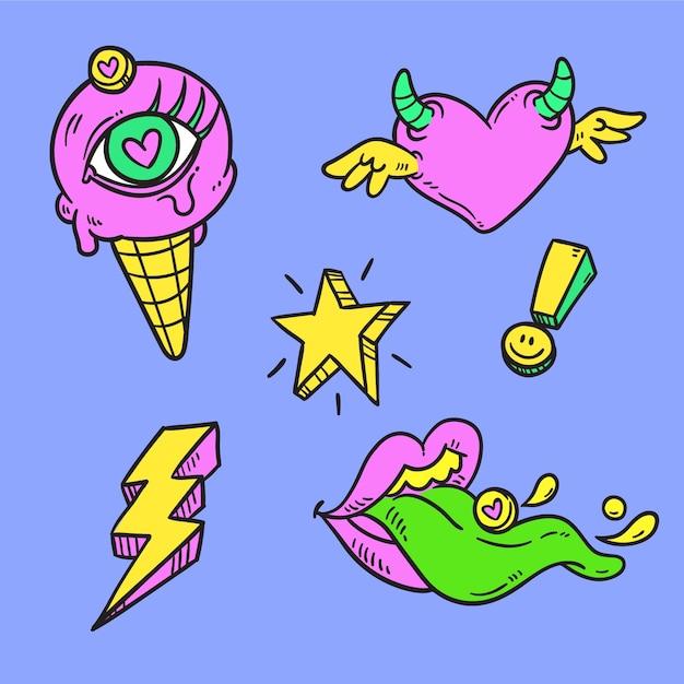 Collezione di adesivi divertenti disegnati a mano con colori acidi Vettore gratuito